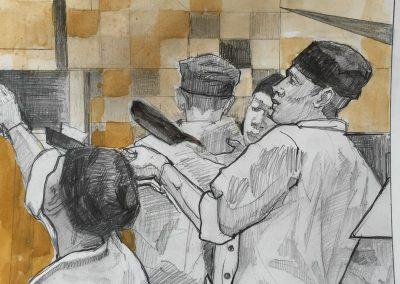 stephaniegoldmanfineart-Pizza Kitchen-Watercolor-8x8