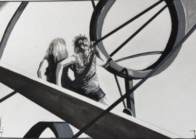 stephaniegoldmanfineart-Urban Play-Watercolor-8x11