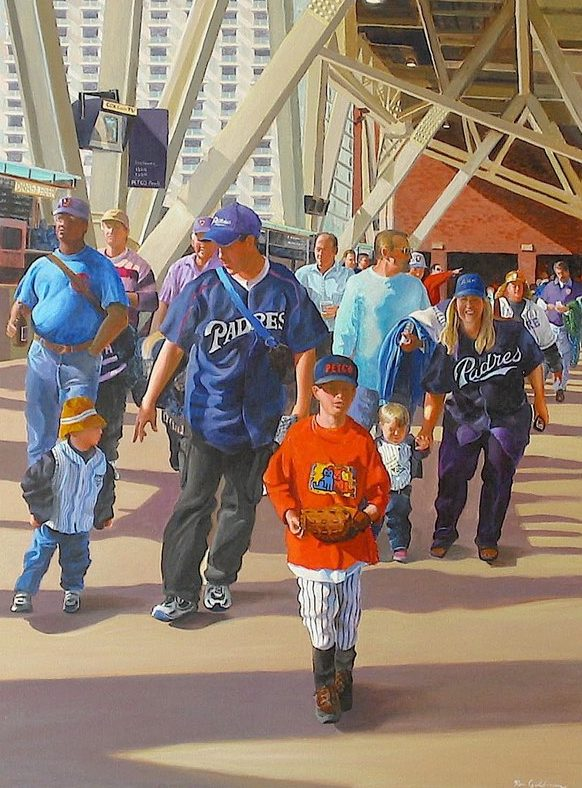 Ken_Goldmanfineart-Petco-Park-Deatail-Acrylic-Figures-48x36 - SOLD - Giclees Available