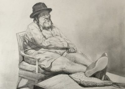 stephaniegoldmanfineart-Not Rabbi-Graphite Drawing-14x17