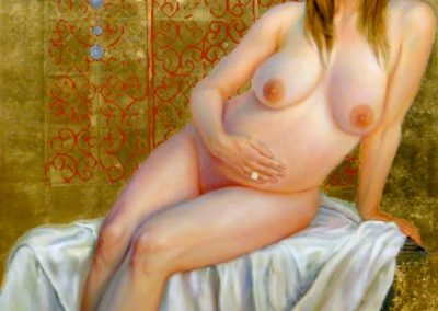 stephaniegoldmanfineart-Virgin-Zara-and-Liam-Life-Oil-Gold-Leaf-59x39