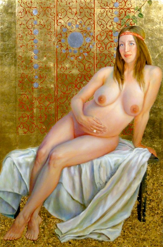 Stephanie Goldmanfineart-Virgin-Zara-and-Baby-Life-Oil-Gold-Leaf-59x39