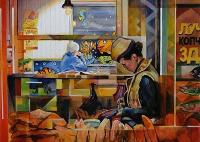 kengoldmanfineart-Fish Monger's Curious Daydream-Watercolor-22x22 - Giclees Available