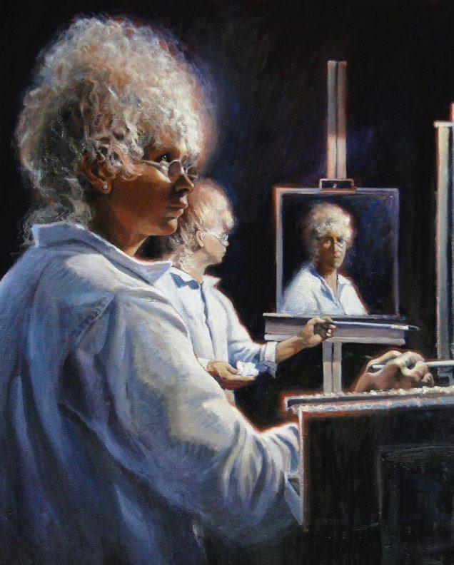 Ken Goldmanfineart_Stephanie's Double Mirrored Self-Portrait-Oil Figures-30x24
