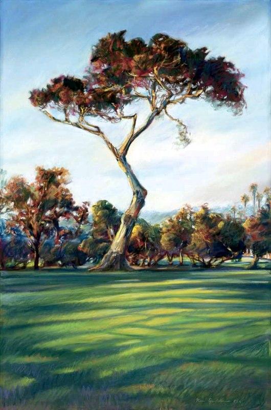 Ken_Goldman-Lone Cypress-Pastel-30x22- SOLD