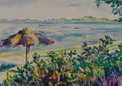 kengoldmanfineart-Tavarua Palapas-Watercolor-12x16 - SOLD - Giclees Available
