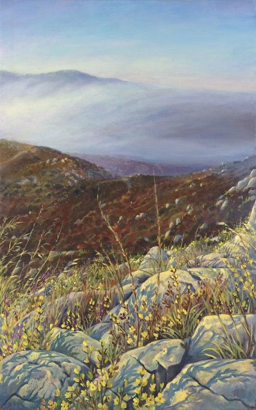 kengoldmanfineart-Chaparral Fogrise-Oil-Landscape-40x24 - SOLD - Giclee Available