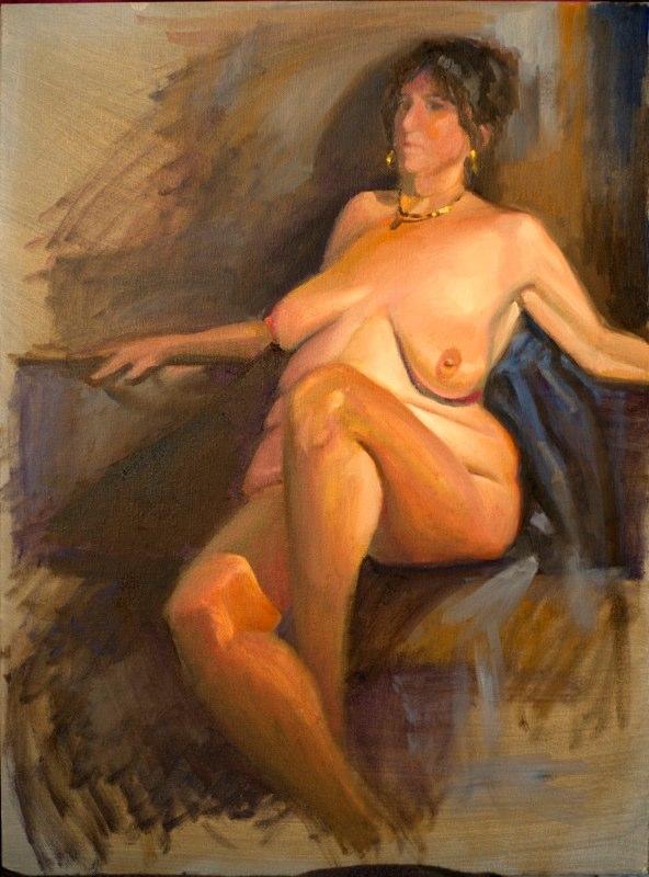 Ken Goldmanfineart_Sketch Group Nude (Pam), Oil 24x18