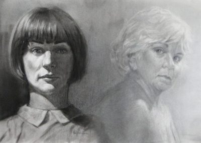 stephaniegoldmanfineart-Two Faces-Charcoal Drawing-15x30
