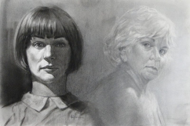 Stephanie_Goldman-Two-Faces-Charcoal-Drawing-15x30