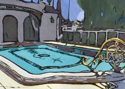 stephaniegoldmanfineart_Avenida-Cresta-Pool-Gouache-11x8