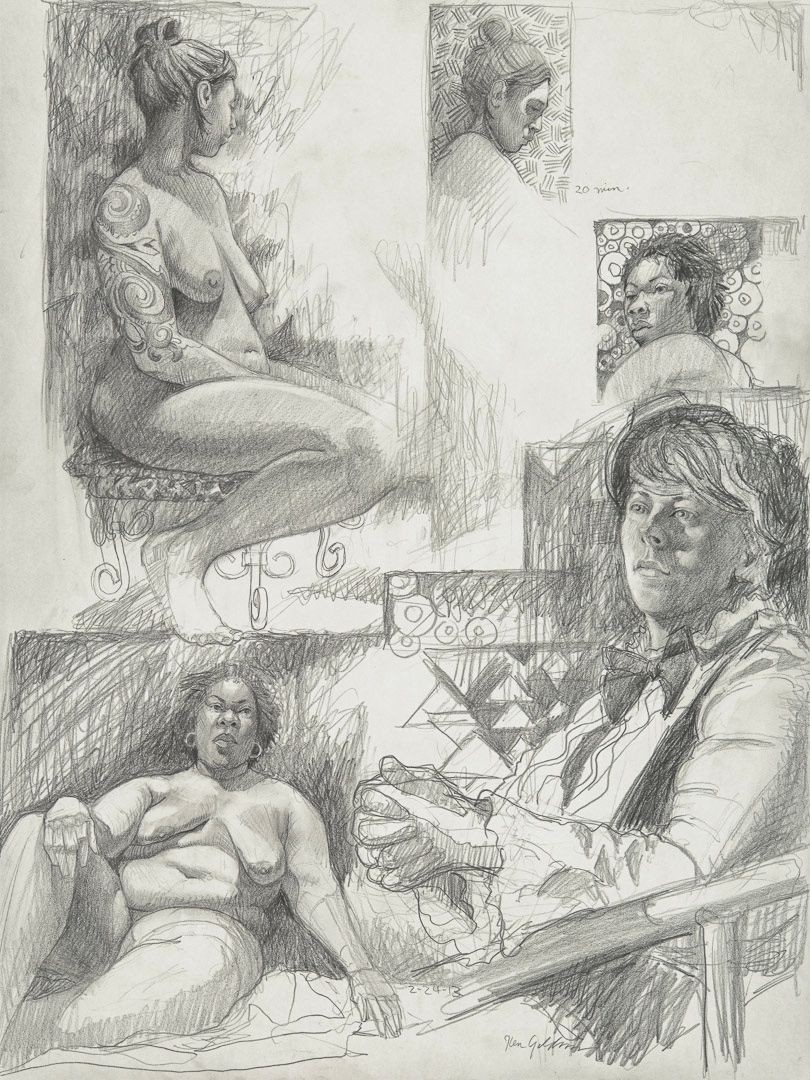 Ken_Goldman_Graphite_Figure Drawing_24x18 - SOLD - Giclees Available