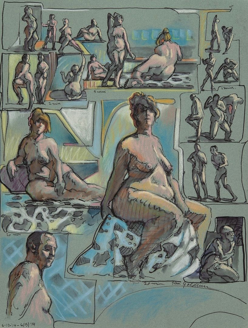 Ken_Goldman_2-20 Minute Figure Composition 10-Ink Pastel Drawing-25x19 - Giclees Available