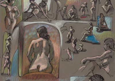 kengoldmanfineart-Figure Composition 9-Ink Pastel Drawing-25x19 - SOLD