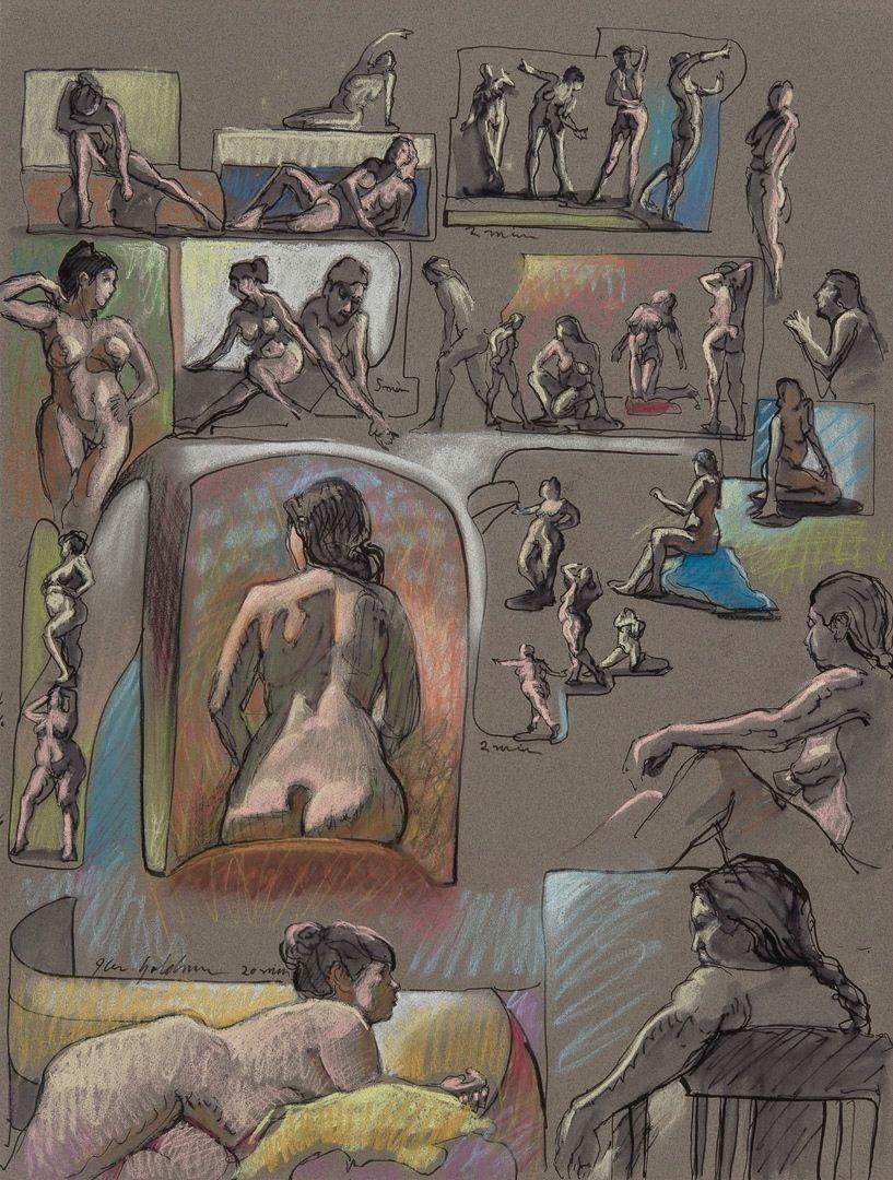 Ken_Goldman-Figure Composition 9-Ink Pastel Drawing-25x19 - SOLD