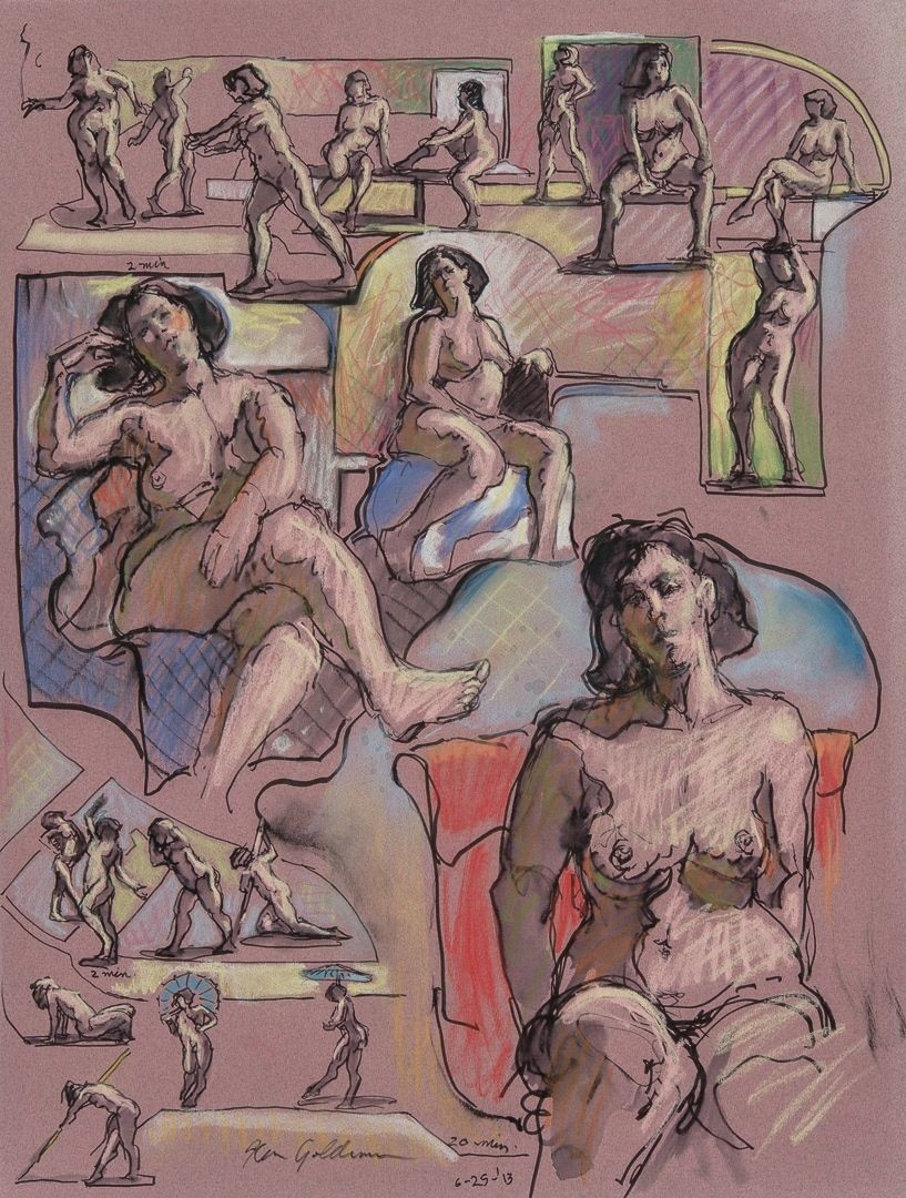 Ken_Goldman_2-20 Minute Figure Composition 11-Ink Pastel Drawing-25x19 - Giclees Available
