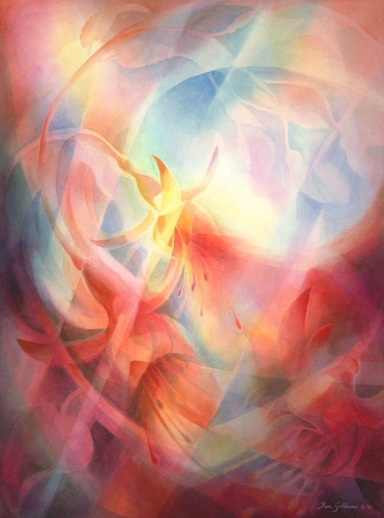 Ken Goldmanfineart_Fuschia_Veiled_Watercolor_30x22 - SOLD - Giclee Available
