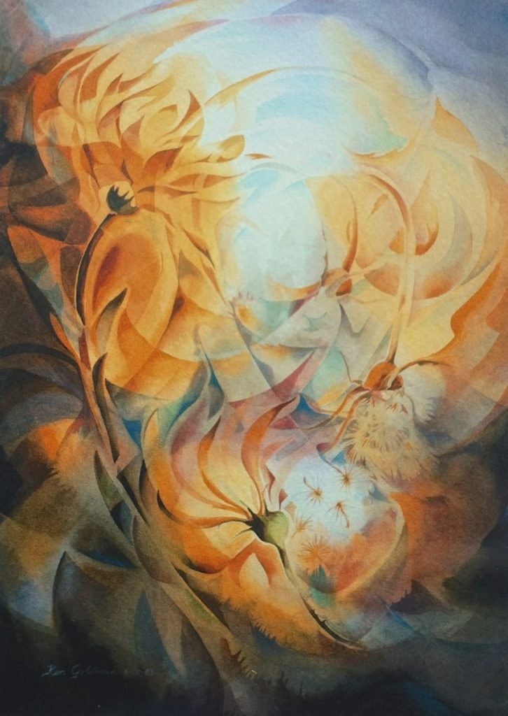 Ken Goldmanfineart_Autumn's Gift_Veiled_Watercolor30x22 - SOLD - Giclee Available