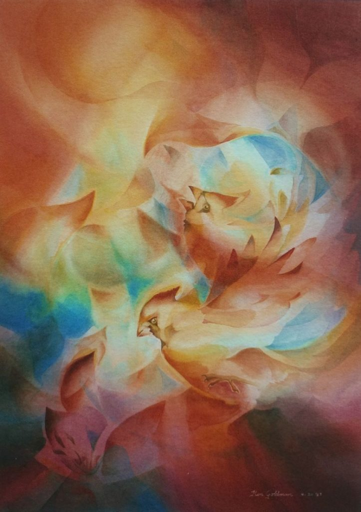 Ken Goldman_Cardinals_Veiled_Watercolor30x22 - SOLD - Giclee Available