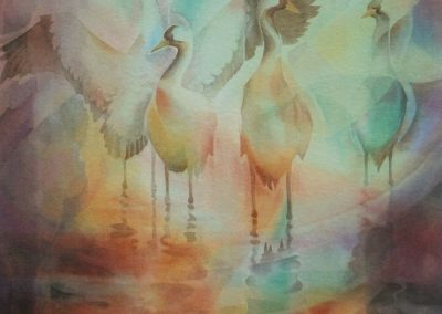 kengoldmanfineart_Crane Reflections_Veiled_Watercolor_30x22 - SOLD - Giclee Available
