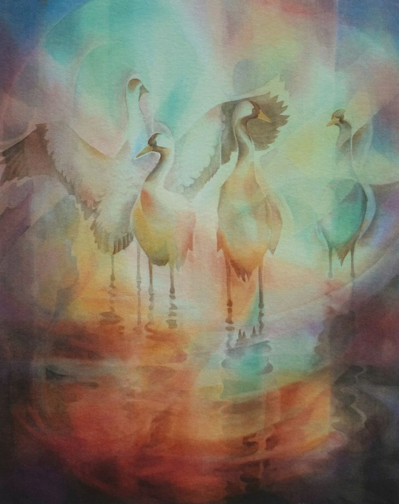 Ken Goldman_Crane Reflections_Veiled_Watercolor_44x36 - SOLD - Giclee Available