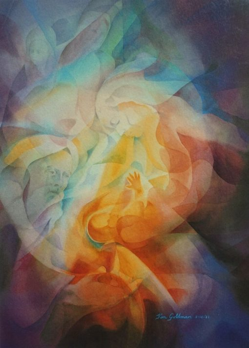 Ken Goldman_Heart Seed_Veiled_Watercolor_30x22 - SOLD - Giclees Available