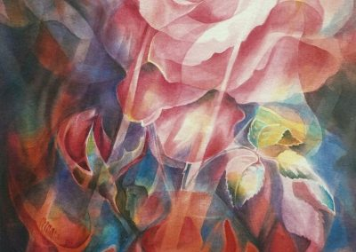 kengoldmanfineart_Opal Rose_Veiled Watercolor_60x46 - Giclee Available
