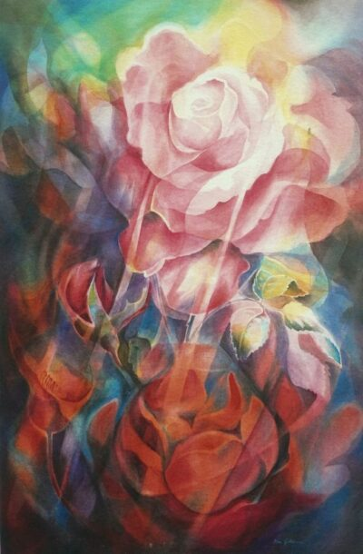 Ken Goldmanfineart_Opal Rose_Veiled Watercolor_60x40_Sold - Giclee Available
