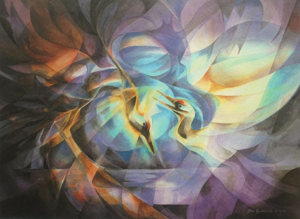 Ken Goldmanfineart_Dance Flight of the Japanese Crane_Veiled Watercolor_22x30 - SOLD - Giclee Available