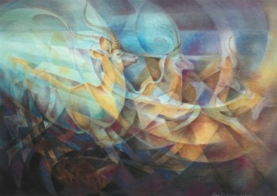 kengoldmanfineart_Antelope Emerging_Veiled Watercolor_22x30 - SOLD - Giclee Available