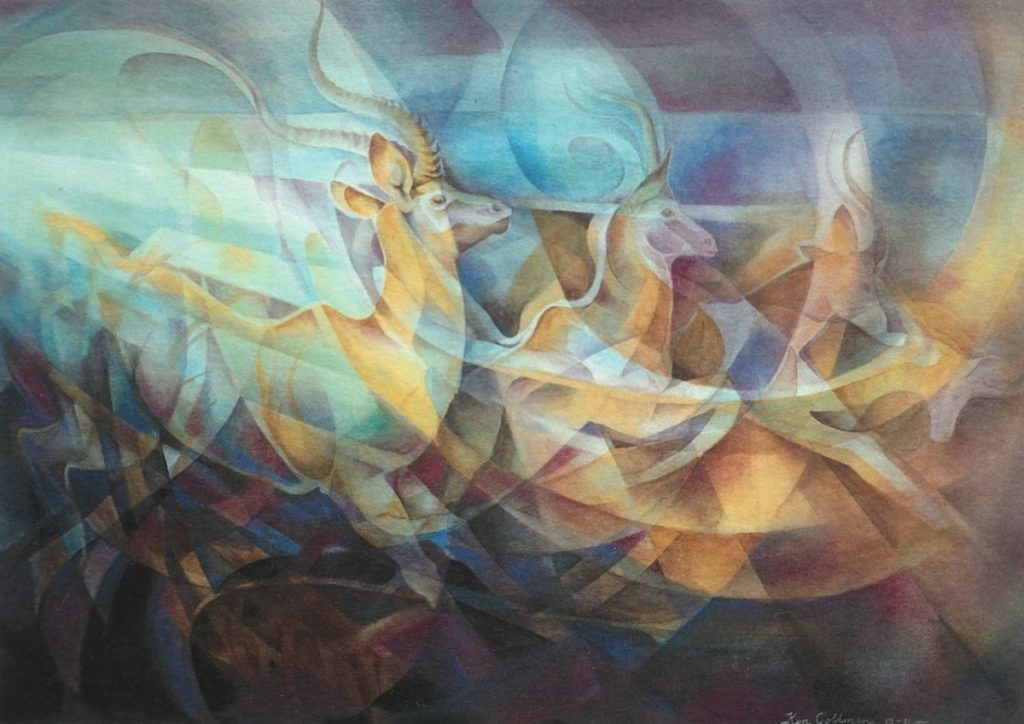 Ken Goldmanfineart_Antelope Emerging_Veiled Watercolor_22x30 - SOLD - Giclee Available