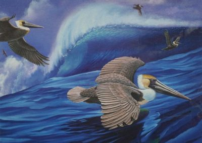 kengoldmanfineart_Pelican and Wave_Oil_30x40 - SOLD - Giclee Available