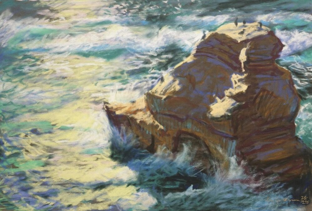 Ken Goldmanfineart_Cormorant Rock, Pastel 51x22 Sold