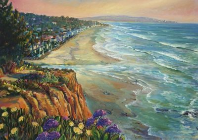 kengoldmanfineart_Del Mar Dog Beach_Oil_36x48 - SOLD - Giclee Available