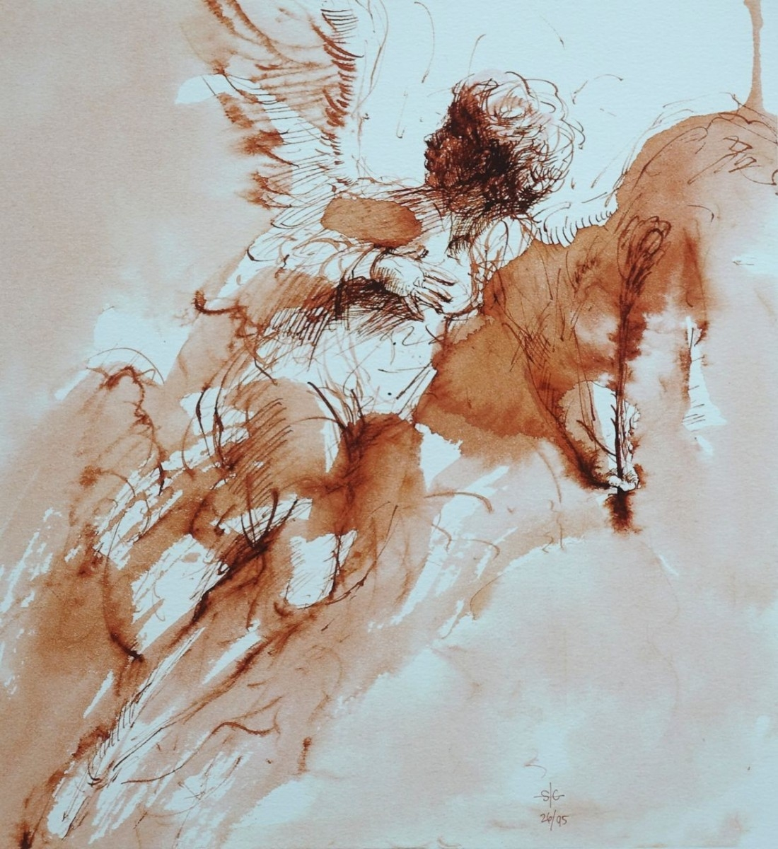Stephanie_Goldman_Angel_of_The-Annunciation_Ink_Watercolor_14x11