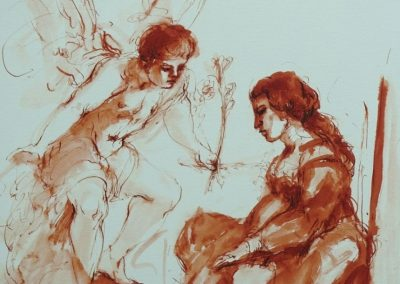 stephaniegoldmanfineart_The_Annunciation_After_Guercino_Ink_Watercolor_14x11