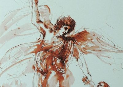 stephaniegoldmanfineart_The_Guardian_Angel_Ink_Watercolor_14x11