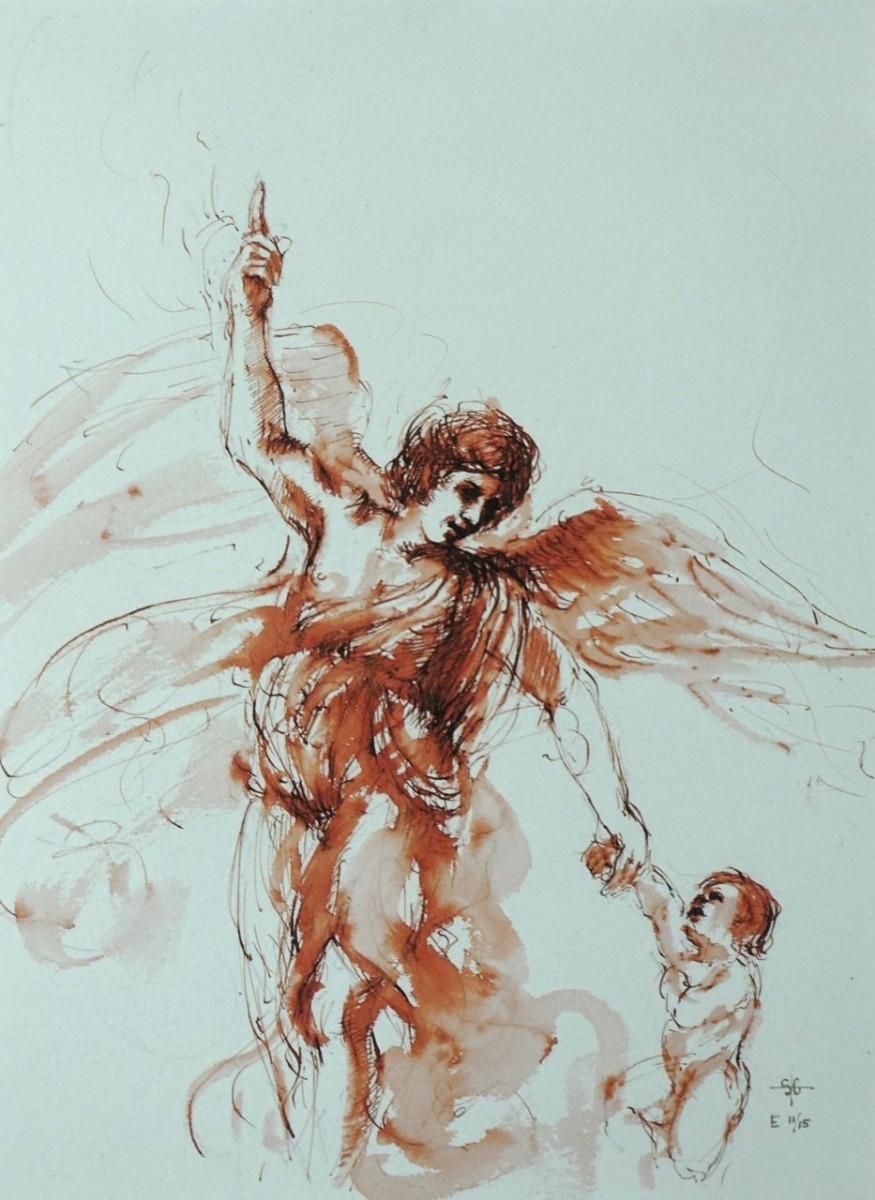 Stephanie_Goldman_The_Guardian_Angel_Ink_Watercolor_14x11
