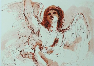 stephaniegoldmanfineart_The_Angel_Ink_Watercolor_7x7