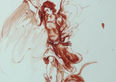 stephaniegoldmanfineart_Saint_Michael_andThe_Dragon_Ink_Watercolor_17x14