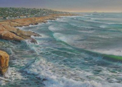 kengoldmanfineart-Sunset-Cliffs-Natural-Park-Acrylic-16x48 - SOLD - Giclees Available