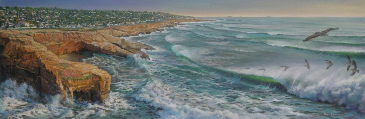 Ken_Goldman-Sunset-Cliffs-Natural-Park-Acrylic-16x48 - SOLD - Giclees Available