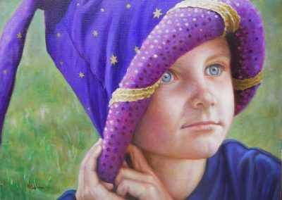 stephaniegoldmanfineart-Cole's-Magic-Hat_Oil_18x24 -Commission  SOLD