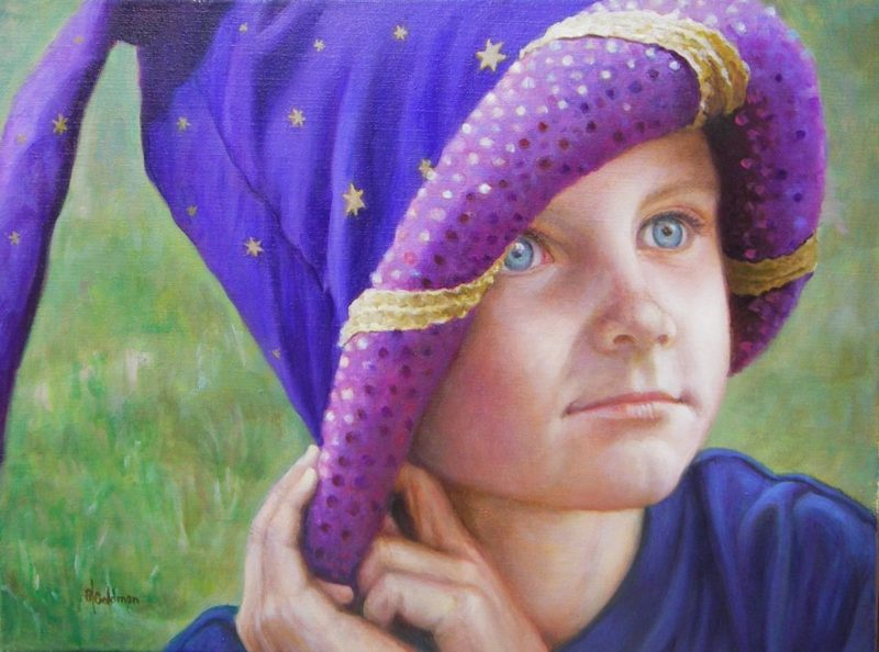 Stephanie Goldmanfineart-Cole's-Magic-Hat_Oil_18x24 -Commission SOLD
