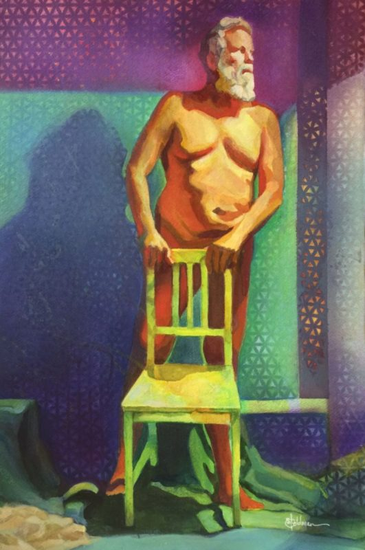 Stephanie_Goldman-A-Man-and-his-Chair_Watercolor_22x15