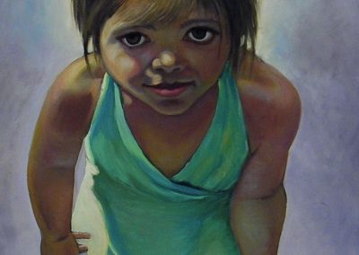 stephaniegoldmanfineart_Girl with Green Dress_Oil-48x24.