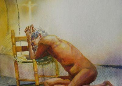 stephaniegoldmanfineart-Praying-Man_Watercolor30x22