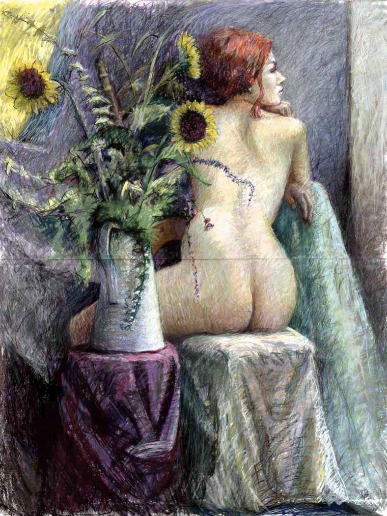 Stephanie_Goldmanfineart-Sunflower-Epiphany_Pastel-Drawing_50x38