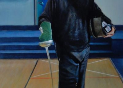 stephaniegoldmanfineart-The-Fencing-Master-Epee-Lesson-Oil-54x36 - SOLD