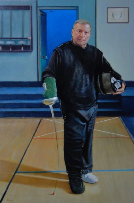 Stephanie_Goldman-The-Fencing-Master-Epee-Lesson-Oil-54x36 - SOLD
